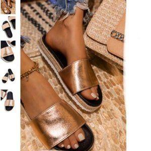 Shoes - !! RESTOCKED!! Espadrille Slides in Rose Gold